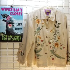 Tapestry Patch Embroidered Cotton/Linen Bld Blazer